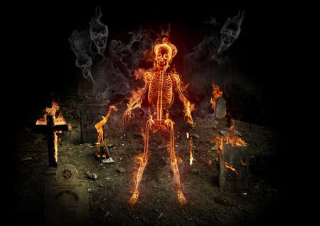 cross bone: Helloween. Fire skeleton