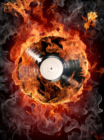 Burning records Stock Photo