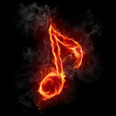 fiery: Fire note symbol Stock Photo