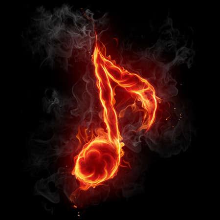 note musicali: Simbolo di fuoco nota