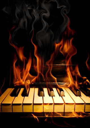 black piano: Burning piano