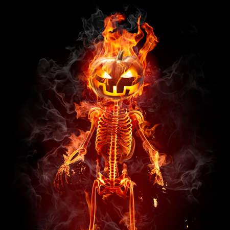 Helloween. Burning pumpkin.