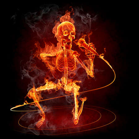 singer with microphone: Fire skeleton - singer