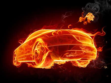 burning: Hot car Stock Photo