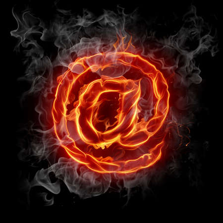 spam mail: Hot mail. Fire at symbol. Stock Photo