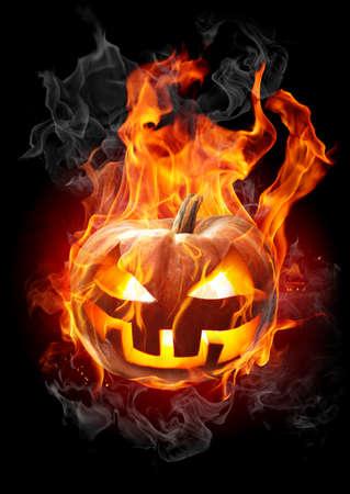 Halloween. Burning pumpkin.