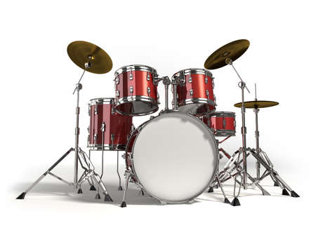 Drum kit isolated on white background Stock Photo