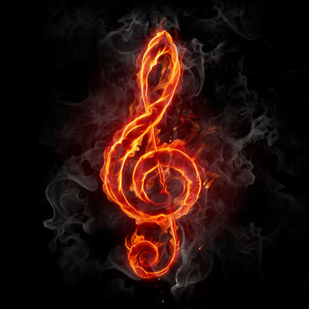 treble clef: Fire staff key