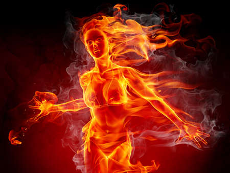 fire flames: Flaming girl