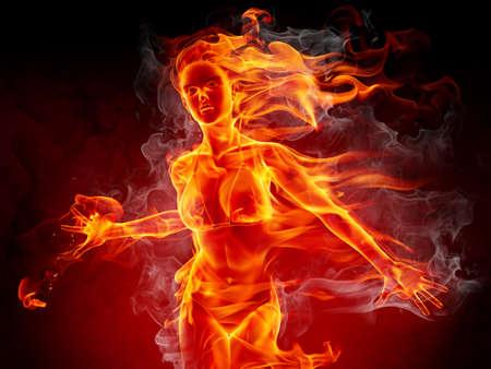 bikini model: Flaming girl