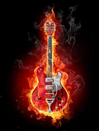 flamboyant: Fire guitar Stock Photo