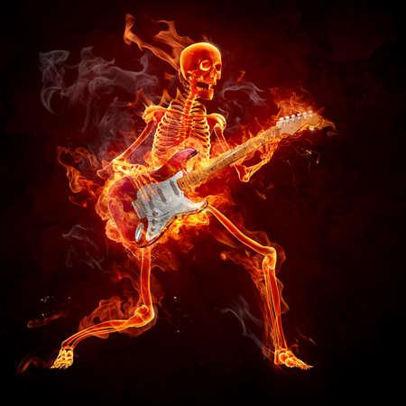 squelette: Flaming squelette ppay la guitare Banque d'images