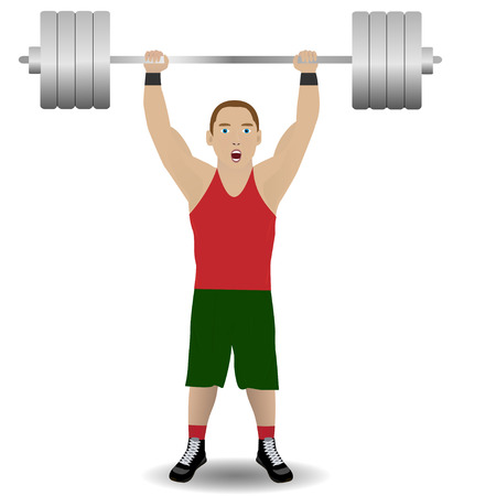 weightlifter: Illustration of weight-lifter on the white background