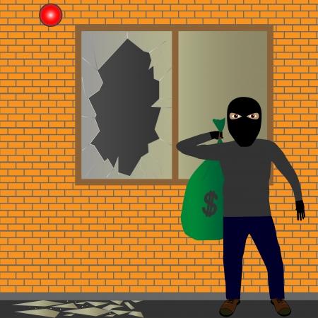 Illustratie van sluipen dief met een zak