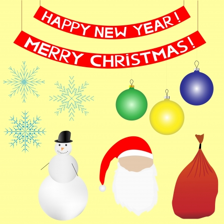 Christmas and New Year set. Vector. Yellow background. Vector