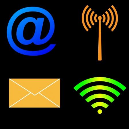wireless technology: Wireless Technology icon set on the black background Illustration