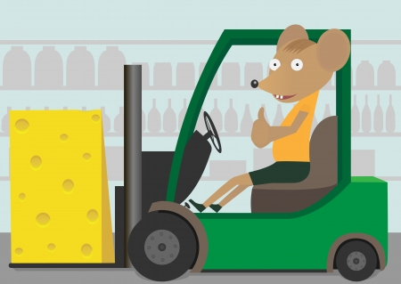 forklift truck: A Green Forklift Truck and mouse carrying a cheese