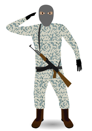 Young soldier with mask and rifle.  Vector