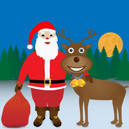 Santa with his arm around a reindeer. Vector