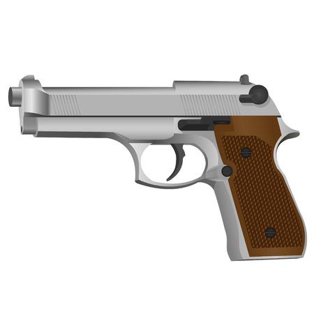 murder scene: Semi-autom�tica pistola sobre fondo blanco
