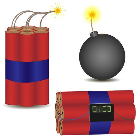 Pyrotechnic icon set. illustration