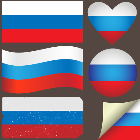 geographical locations: Russia icon set of flags. Fully editable