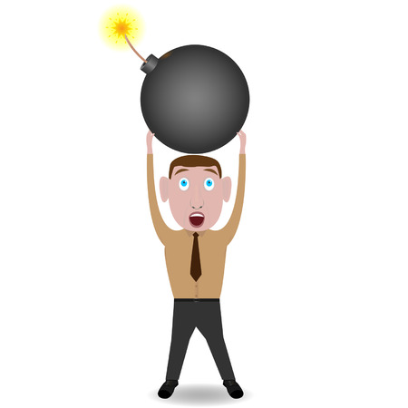 Scared man with bomb. illustration Stock Vector - 25634593