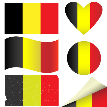 Belgium flags set. illustration. Vector