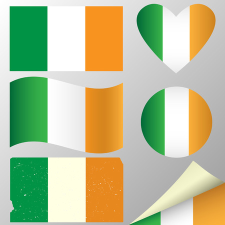 Ireland flags set. illustration. Vector