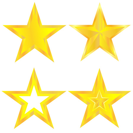 Golden stars set on the white background. Vector