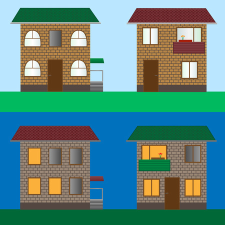 Vector illustration of house set. Eps-10. Vector