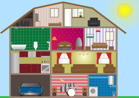 Vector illustration of house interior. Eps-10.