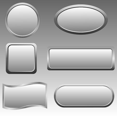 silver: Vector set of silver buttons. Vector illustration. Illustration