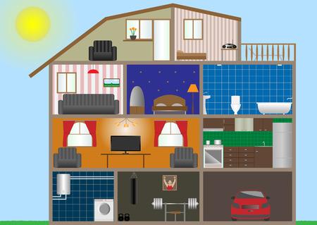 illustration of house interior.