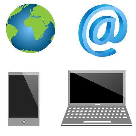 wireless technology: Modern wireless technology icons set.  Illustration