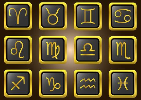 vestal: golden zodiacal signs set.  Illustration