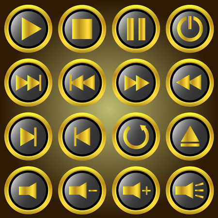 backwards: Golden media player knoppen instellen. Stock Illustratie