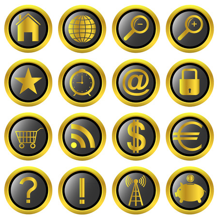 golden web icons for web and mobile applications.  Vector