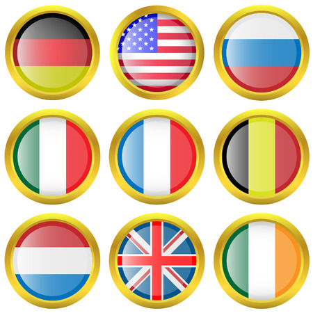 illustration set of world flag icons. Vector
