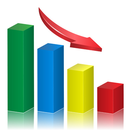 Business crisis graph with falling arrow.  Vector