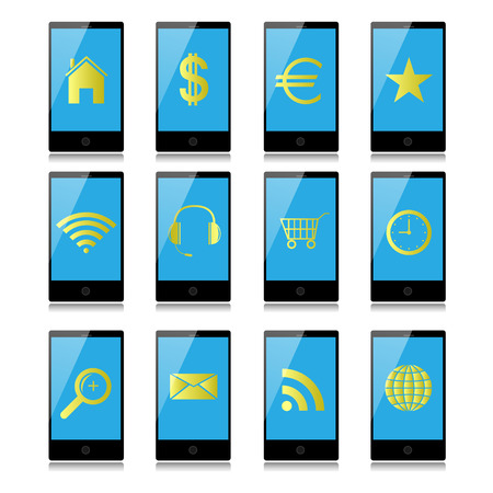 Mobile phones with icons on the screen. Vector
