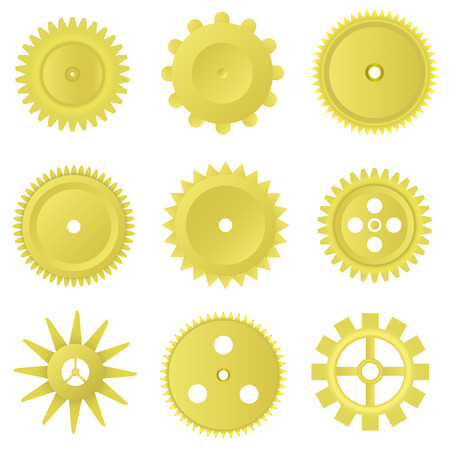 Golden gear set on the white background.  Vector