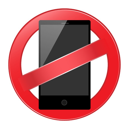 aciculum: No mobile phone allowed sign. Vector illustration.