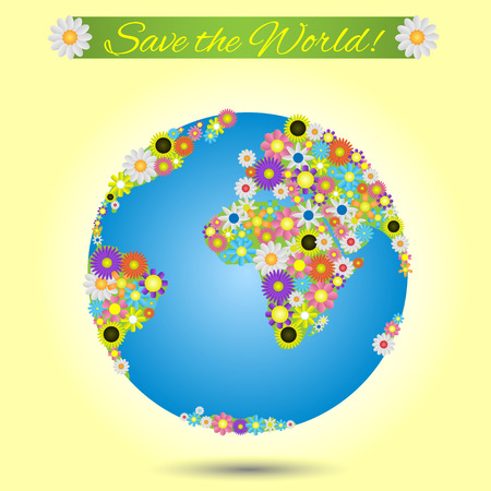 solarpower: Save the world. Ecology concept vector illustration.