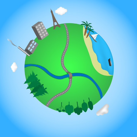Vector illustration of abstract globe in a cartoon style. Travel concept. Vector