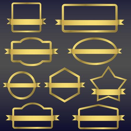 Golden frames with ribbons Иллюстрация