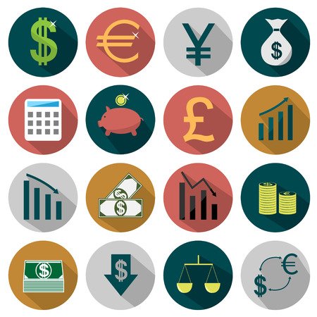 Flat Finance icons Vector