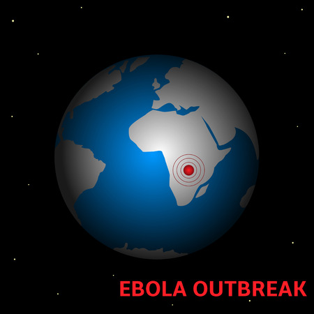 outbreak: Ebola Virus outbreak. Western Africa map close up with biohazard sign.