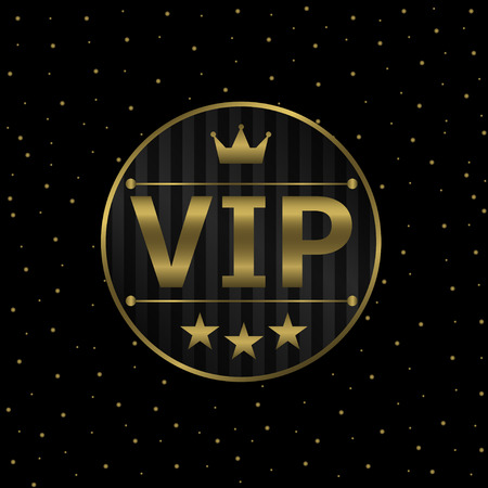 Vector Vip icon on the black background with golden stars .