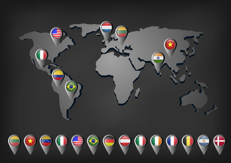 Vector flags markers on the world map